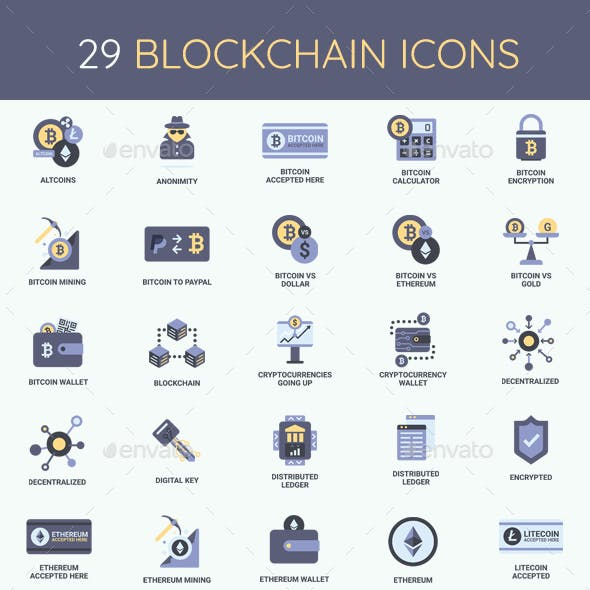 Cryptocurrency, Bitcoin & Blockchain Icon Set