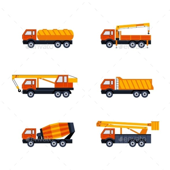 Construction Vehicles - Modern Vector Flat Design