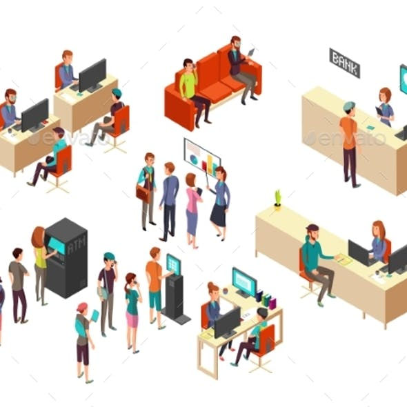 Isometric Bank Clients and Employees for 3d
