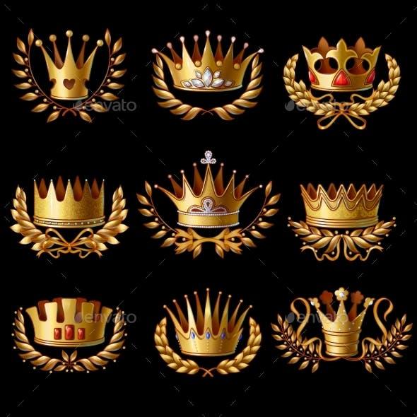 Beautiful Gold Royal Crowns Set