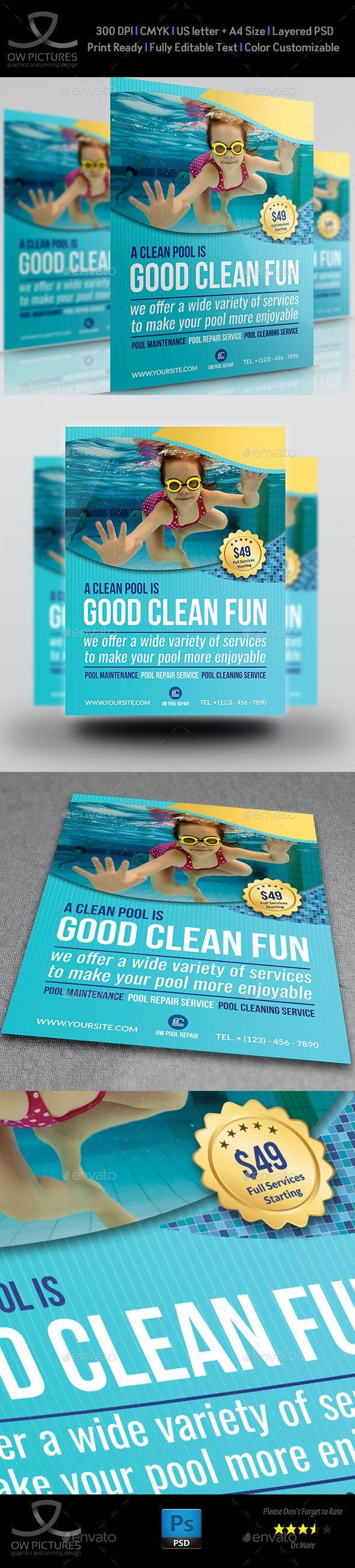 Swimming Pool Cleaning Service Flyer Template By OW