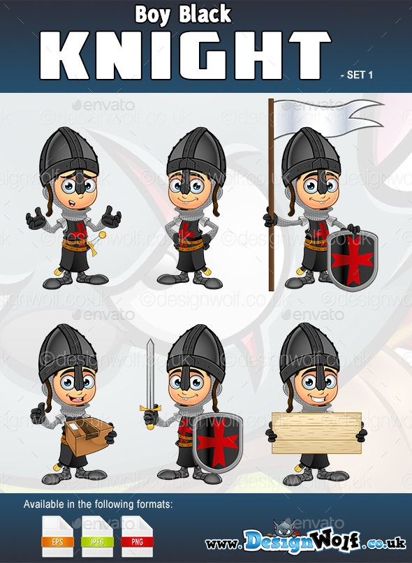 Boy Black Knight Character - Set 1 - People Characters