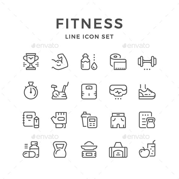 Set Line Icons of Fitness