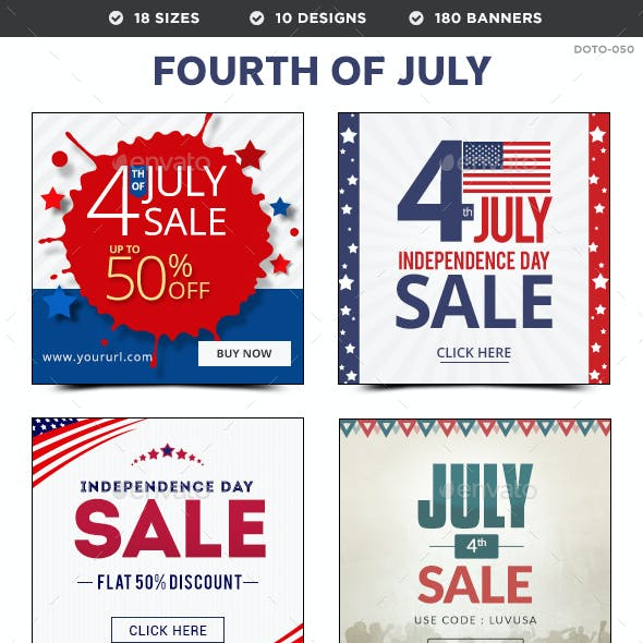 4th of July Sale Banners Bundle - 10 Sets - 180 Banners