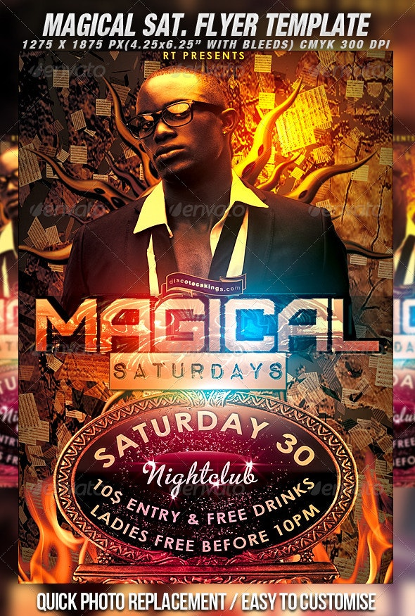 Magical Saturdays Flyer Template - Clubs & Parties Events