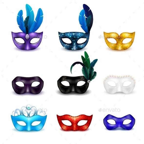 Masquerade Mask Realistic Icon Set