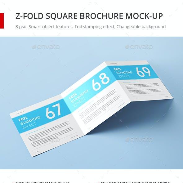Z-Fold Square Brochure Mock-up