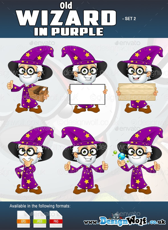 Old Wizard In Purple – Set 2 - Characters Vectors