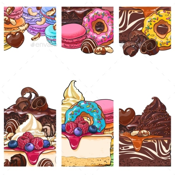 Banner Postcard Templates with Sweets - Food Objects