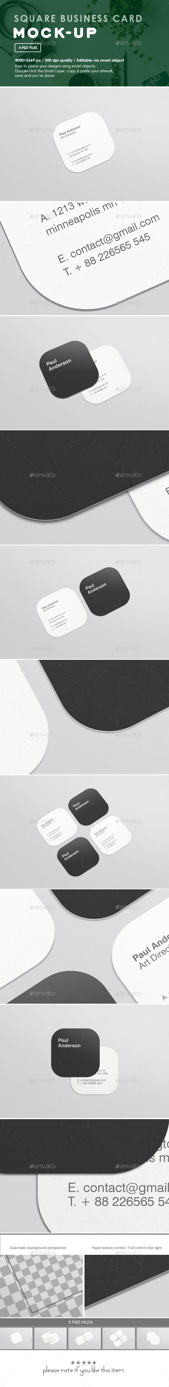 Square Business Card Mockups - Business Cards Print