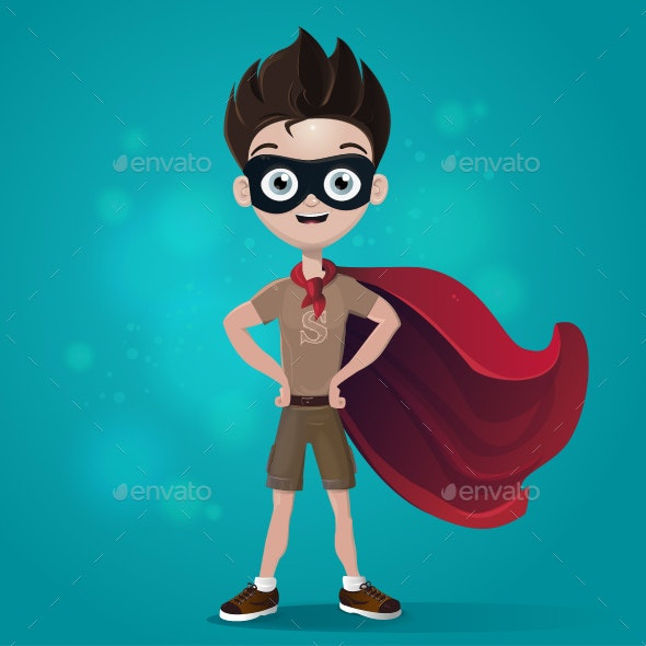 Superhero Happy Child - Characters Vectors