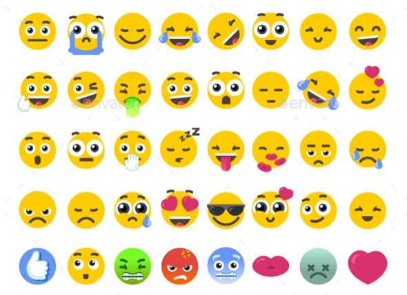 Emoji Set of Isolated on White Vector Emoticons Stickers - Vectors
