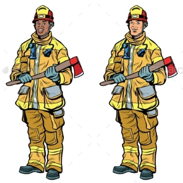 African American and Caucasian Firemen in Uniform