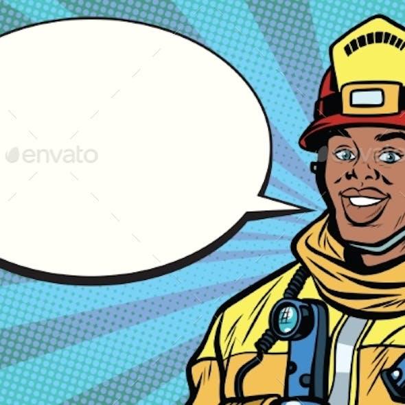 African American Firefighter Portrait, Comic