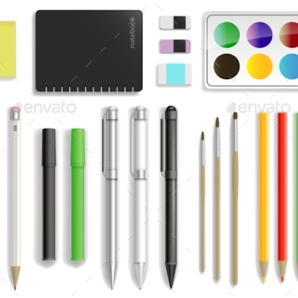 Set of Stationery in Vector