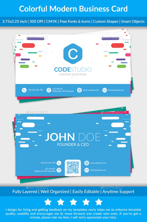 Colorful Modern Business Card - Business Cards Print Templates