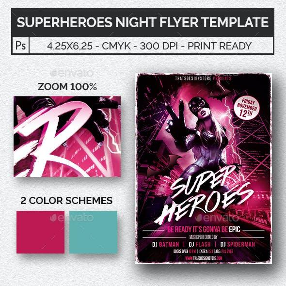Superheroes Night Flyer Template