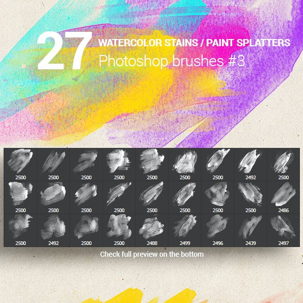 27 Watercolor Stains Paint Splatters Photoshop Brushes #3
