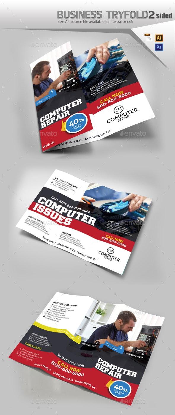 Computer Repair Trifold - Brochures Print Templates