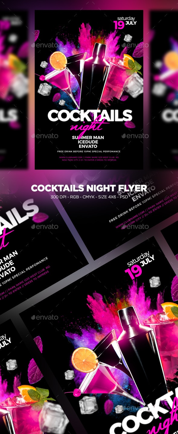Cocktails Night Flyer - Clubs & Parties Events