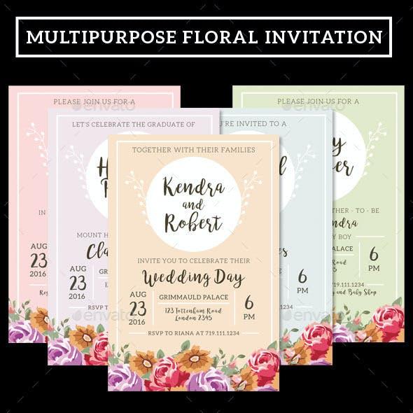 Multipurpose Floral Invitation