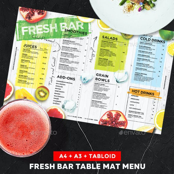 Juice Drinks Menu