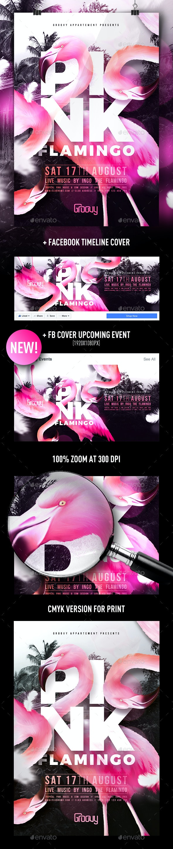 Pink Flamingo Flyer - Clubs & Parties Events