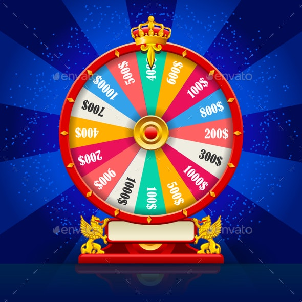 Fortune Wheel Realistic Vector Spinning Lucky Roulette by aurielaki