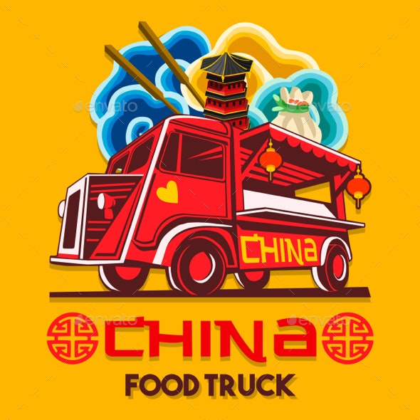 Food Truck Chinese China Fast Delivery Service Vector Logo - Food Objects