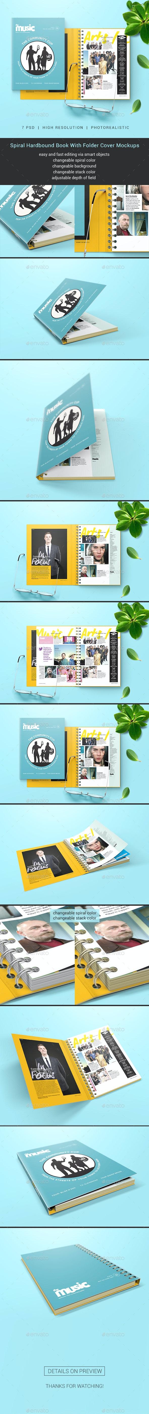Spiral Hardbound Book With Folder Cover Mockups - Books Print
