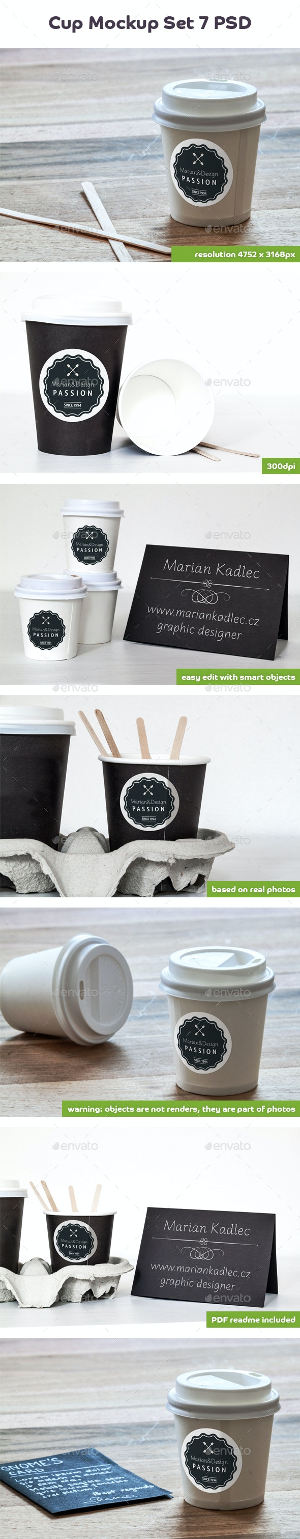 Coffee Cup and Paper Card Mock-Up - Food and Drink Packaging