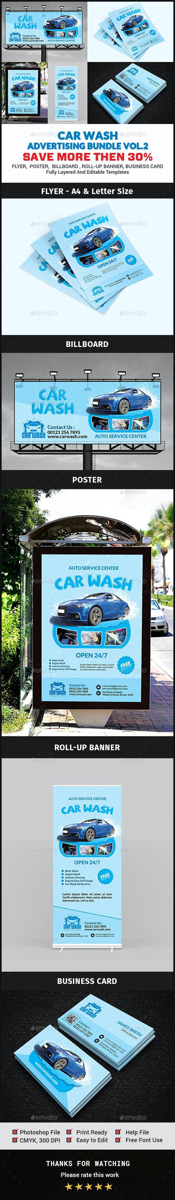 Car Wash Advertising Bundle Vol.2 - Signage Print Templates