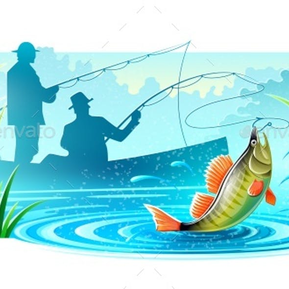 Fishermen Fishing in Boat Catched Big Fish