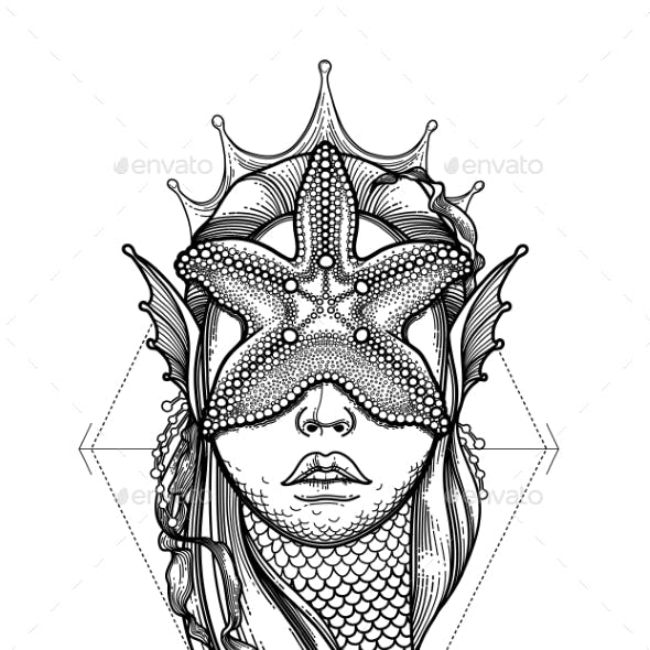 Graphic Mermaid Head