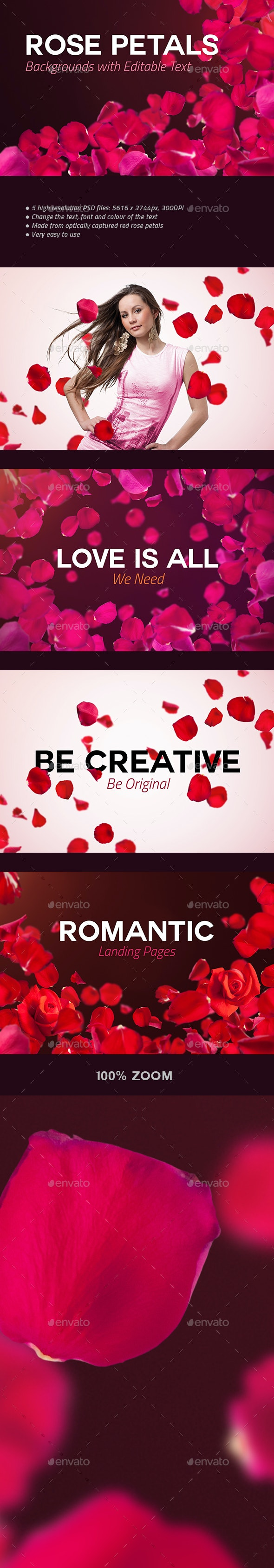 4 Rose Petals Backgrounds with Editable Text - Abstract Backgrounds