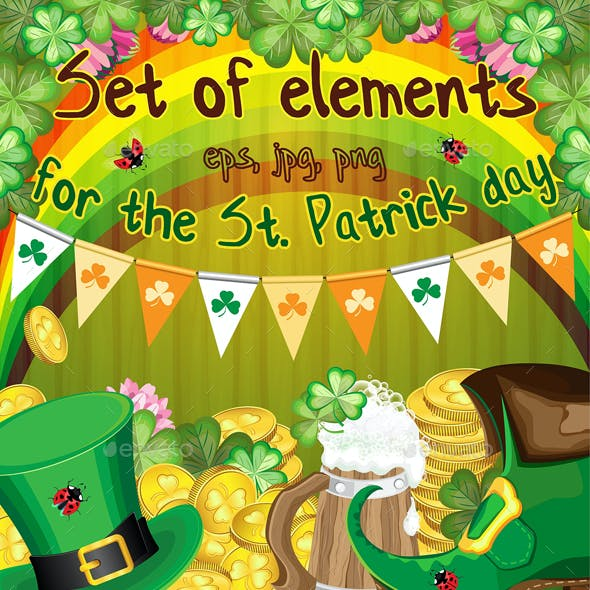 Set of elements for the st. Patrick`s Day