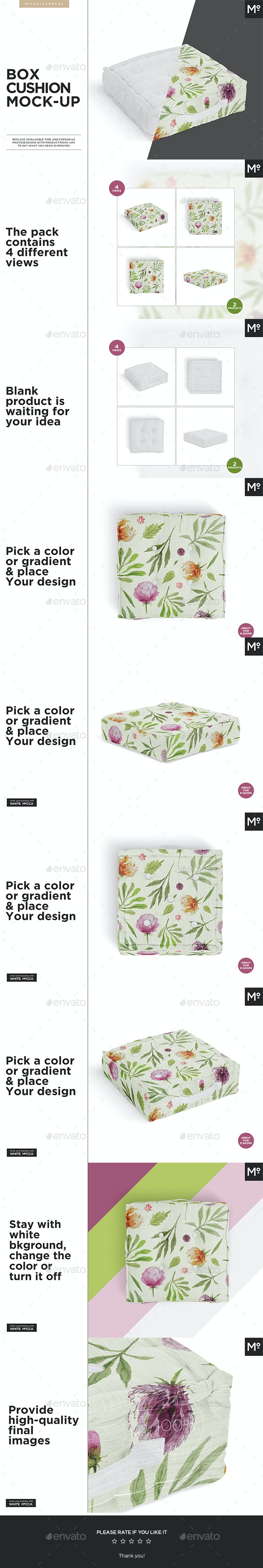 Box Cushions Mock-up - Miscellaneous Product Mock-Ups