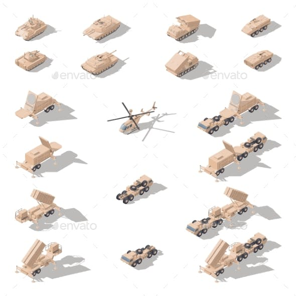 Modern Military Equipment in Desert Camouflage