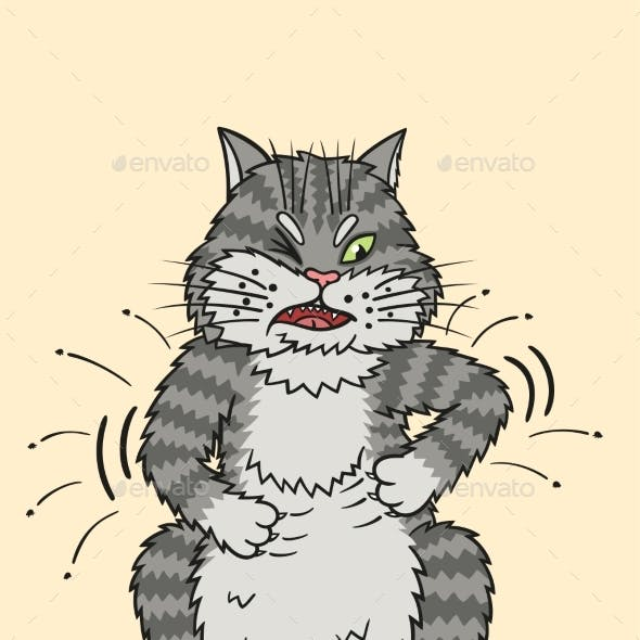 Gray Tabby Cat Scratching with Claws