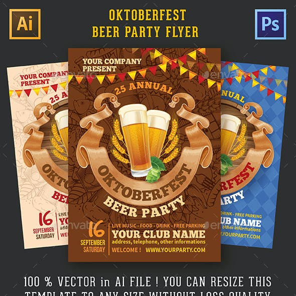 Oktoberfest Beer Party Flyer Templates