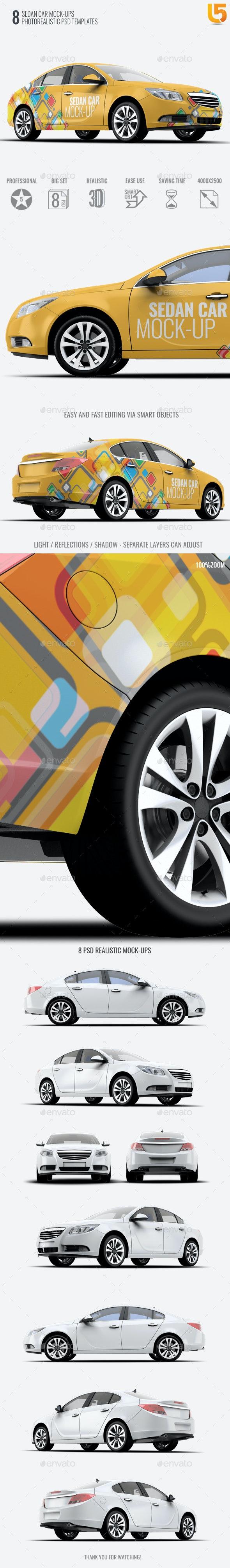 Sedan Car Mock-Up - Vehicle Wraps Print