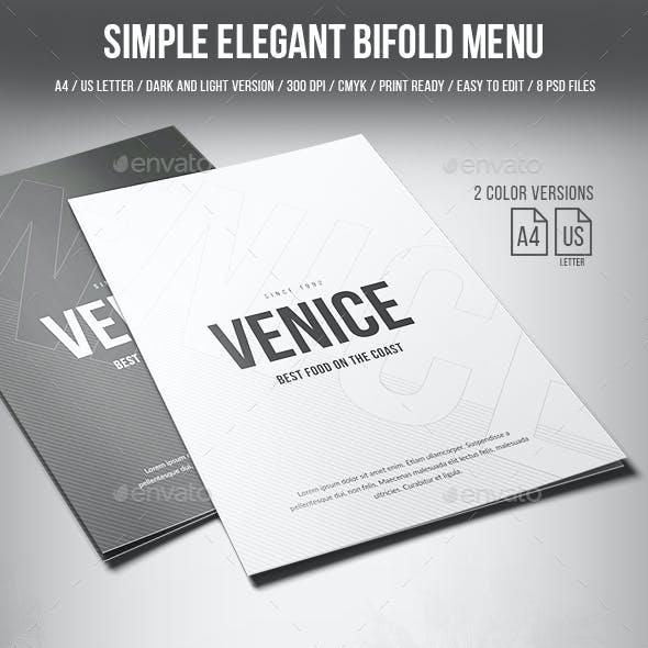 Simple Elegant Bifold Menu - A4 and US Letter - 2 Color Version