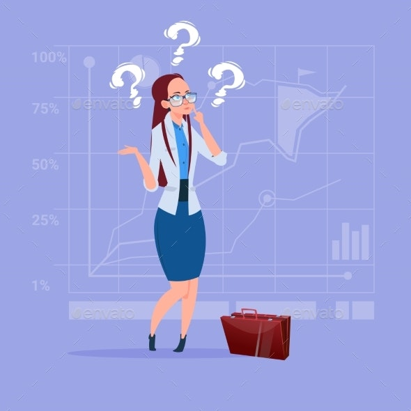 Business Woman with Question Mark Pondering - Miscellaneous Vectors