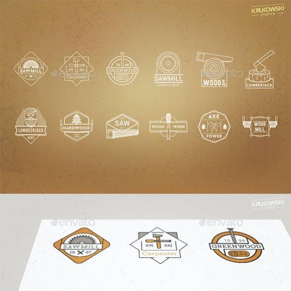 Wood Vector Badges Logo Set