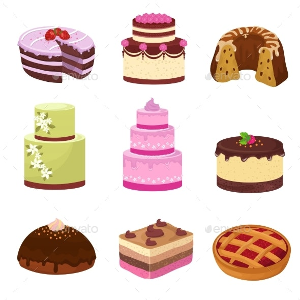 Happy Birthday Party Cakes with Decorations - Food Objects