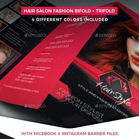 Hair Salon Fashion Style Bifold + Trifold