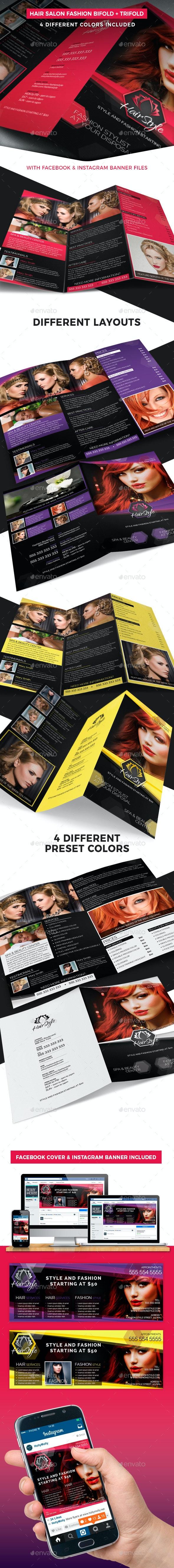 Hair Salon Fashion Style Bifold + Trifold - Informational Brochures