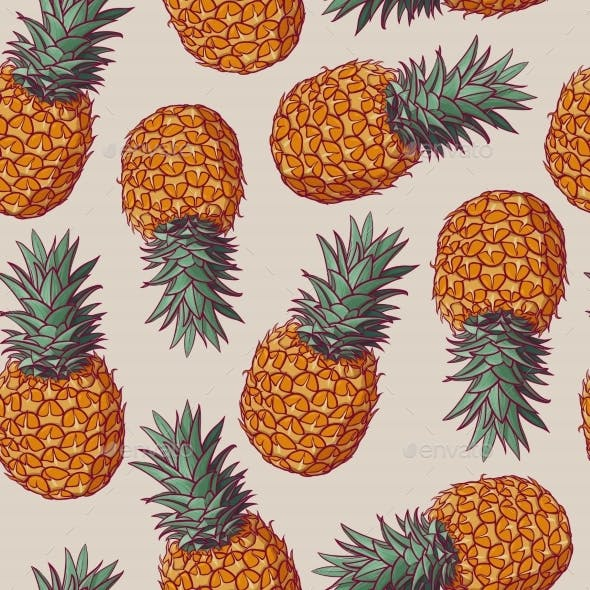 Seamless Pattern with Vector Illustrations of Pineapples