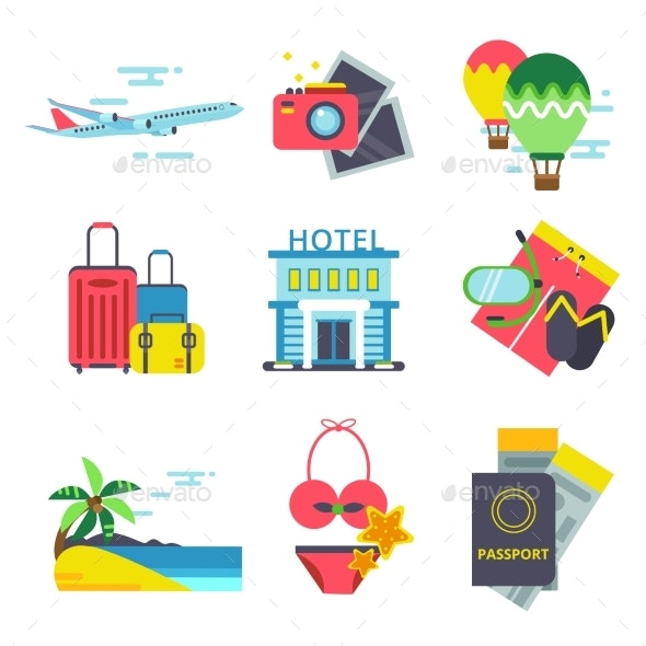 Travel Time Icon Set in Flat Style. Vector Signs - Objects Vectors