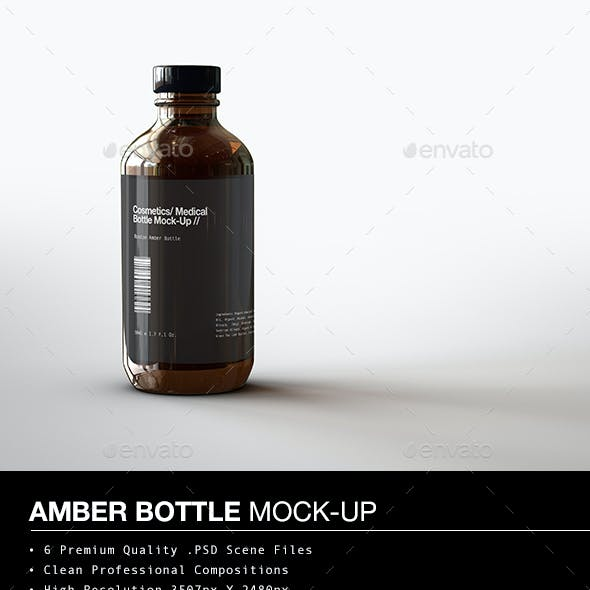 Amber Cosmetics Bottle | Medical Bottle Mock-Up